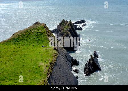 Rocky Coast, Screda Point at Hartland Quay, Hartland, Devon, England, United Kingdom - Stock Photo