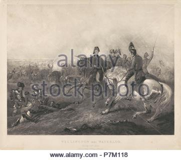 Wellington at the Battle of Waterloo, 1815, Frederick Bromley, G.G. Lange, 1837. - Stock Photo