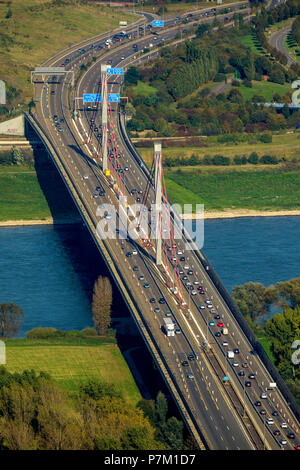 Rhine bridge, A1 motorway bridge over the Rhine for goods traffic over 3.4 tons, closed due to cracks in the steel construction, pylons, Leverkusen Rhine Bridge, Leverkusen, Rhineland, North Rhine-Westphalia, Germany - Stock Photo