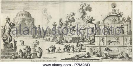 Egyptian, Syrian, Babylonian and Samaritan gods worshiped by the Hebrews and Jews, Jan Luyken, Willem Goeree, 1682. - Stock Photo