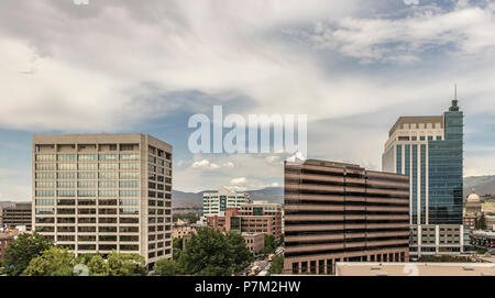 Downtown Boise Cityscape. View from the south of skyscrapers, streets, the State Capital building and the foothills in summer. Boise, Idaho, USA. - Stock Photo