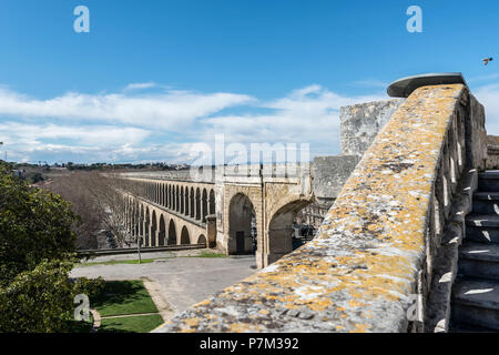 Montpellier, Herault, France, Saint-Clément aqueduct in the old town of Montpellier in the Languedoc Roussillon region - Stock Photo