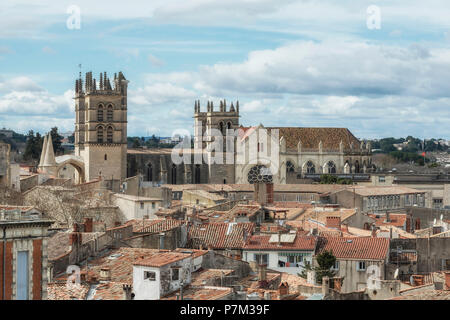 Montpellier, Herault, France, View over the old town with the 16th century cathedral Saint-Pierre de Montpellier. - Stock Photo