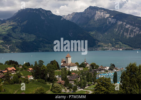 View of Spiez Castle on Lake Thun, Spiez, Canton of Bern, Switzerland - Stock Photo