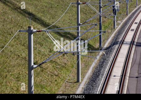 Mast, insulators, wires - Stock Photo