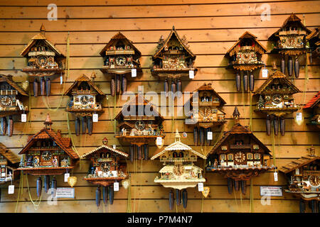 Germany, Baden Wurttemburg, Black Forest, Triberg, cuckoo clocks for sale - Stock Photo