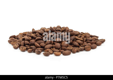 A pile of coffee beans isolated on a white background. - Stock Photo