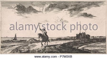 Postman riding along the beach, Jacob Quack, Jan Houwens (I), 1665. - Stock Photo