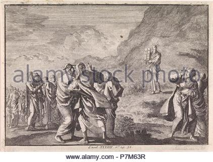 Moses received the law tables and displays them to the people, Jan Luyken, Pieter Mortier, 1703 - 1762. - Stock Photo