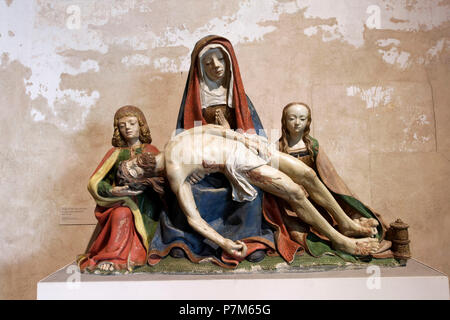 France, Haute Garonne, Toulouse, Augustins museum in the former Augustins convent, Virgin with saint Jean and sainte Marie Madeleine, 16th century - Stock Photo