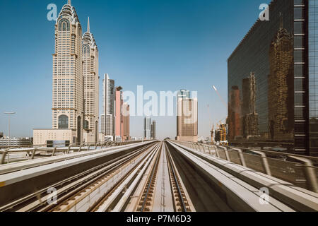 Metro tracks in Sheikh Zayed Road, Dubai, United Arab Emirates - Stock Photo
