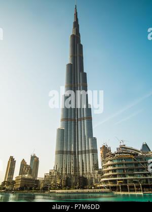 Burj Khalifa, the tallest man made structure in the world at 828 metres, Dubai, United Arab Emirates, - Stock Photo