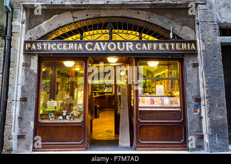 Traditional coffee shop in Via Gombito street in Citta Alta upper city of Bergamo Italy - Stock Photo