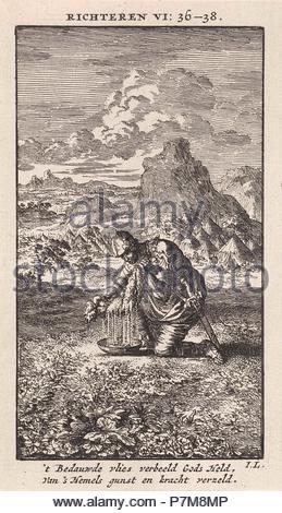 Gideon and the wet sheepskin, print maker: Jan Luyken, wed. Pieter Arentsz & Cornelis van der Sys II, 1712. - Stock Photo