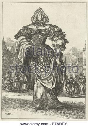 Lady in dress from the series Figures à la mode, Romeyn de Hooghe, 1670 - 1685. - Stock Photo