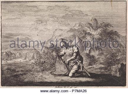 Gideon and the wet sheepskin, Jan Luyken, Pieter Mortier, 1703 - 1762. - Stock Photo