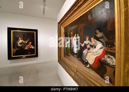 France, Haut Rhin, Alsace Wine Route, Colmar, Unterlinden Museum, paintings of the 19th-20th century, Wedding in Lower Alsace of Camille Alfred Pabst, 1874 - Stock Photo