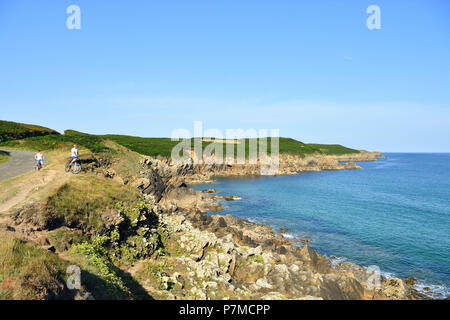 France, Finistere, Iroise see, Armorique Regional natural park, Le Conquet, coastal path around the peninsula of Kermorvan - Stock Photo
