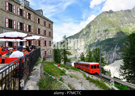 France, Haute Savoie, France, Haute Savoie, Chamonix, the tourist train of Montenvers, the Montenvers railway station - Stock Photo