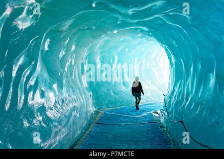 France, Haute Savoie, Chamonix Mont Blanc, Montenvers, cave of the Mer de Glace glacier - Stock Photo