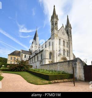 France, Seine Maritime, Saint Martin de Boscherville, Saint Georges de Boscherville Abbey of the 12th century - Stock Photo