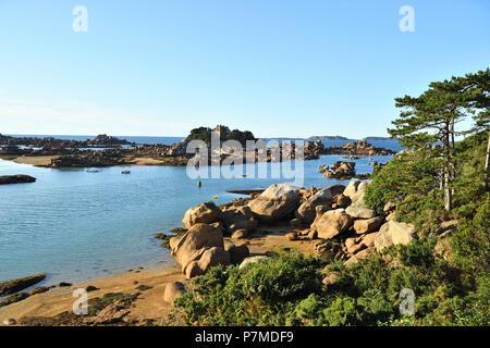 France, Cotes d'Armor, Perros-Guirec, Ploumanac'h, Cote de Granit Rose (Pink Granite Coast), Island and castle of Costaeres - Stock Photo