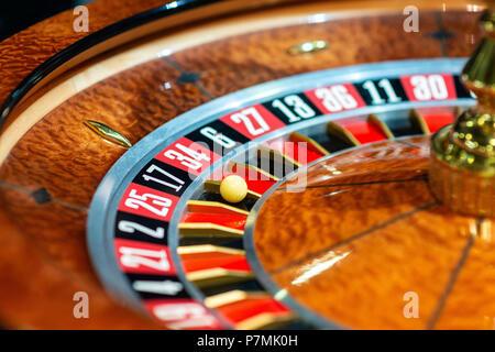 Roulette wheel in casino. Close up - Stock Photo