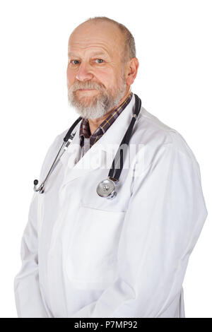 Portrait of mature medical doctor with white coat and stethoscope on isolated background - Stock Photo