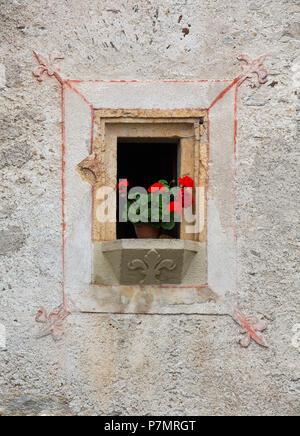 Austria, Salzburg State, Lungau region, Mauterndorf, plaster house, gothic, detail, window, flower, - Stock Photo
