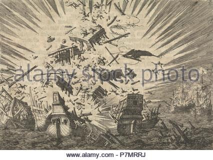 The Dutch ship 'Walcheren' explodes along with five Portuguese ships, 1631, Jan Luyken, Pieter van der Aa (I), 1698. - Stock Photo