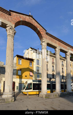 Italy, Lombardy, Milan, Ticinese district, Corso di Porta Ticinese, Columns of Saint Lawrence (San Lorenzo Column), Roman ruins dating back to the second century - Stock Photo