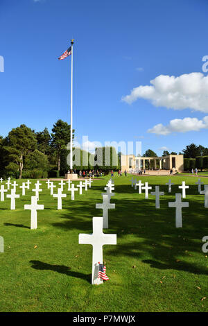 France, Calvados, Omaha Beach, Colleville sur Mer, Normandy American cemetery, white marble crosses - Stock Photo