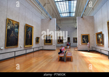 France, Rhone, Lyon, historical site listed as World Heritage by UNESCO, Palais Saint Pierre, Musee des Beaux Arts (Fine Art Museum), hall of the paintings of the XVIIth century - Stock Photo