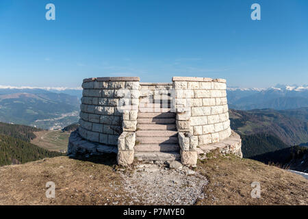 Monte Grappa, province of Vicenza, Veneto, Italy, Europe, on the summit of Monte Grappa there is a military memorial monument. - Stock Photo
