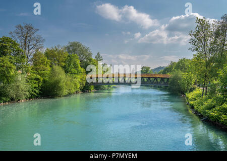 Wolfratshausen, Upper Bavaria, Germany, Europe, Wooden bridge over Loisach river - Stock Photo