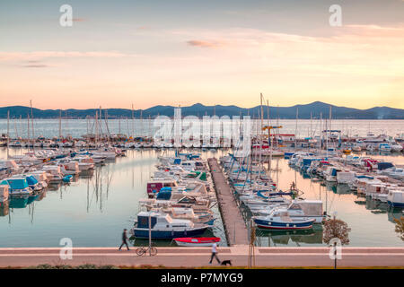 Europe, Croatia, North Dalmatia, Dalmatian coast, Zadar, Zara, boats in the Tankerkomerc harbour - Stock Photo
