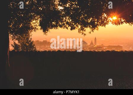 Sunrise in Bergamo Upper Town, città alta, Bergamo City, Province of Bergamo, Lombardy district, Italy, Europe - Stock Photo