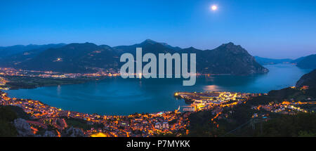 Lovere at Blue Hour, Brescia province, Lombardy district, Italy, - Stock Photo