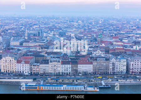 Overview of the city from The Citadel on Gellert Hill, Budapest, Hungary - Stock Photo