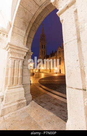 Matthias Church seen from Fisherman's Bastion, Budapest, Hungary - Stock Photo