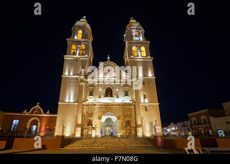 Cathedral of Campeche by night, San Francisco de Campeche, State of Campeche, Mexico, - Stock Photo