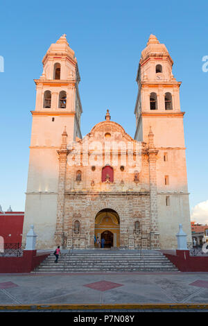Cathedral of Campeche at sunset, San Francisco de Campeche, State of Campeche, Mexico, - Stock Photo