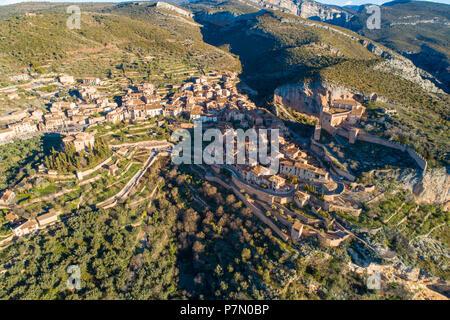 Aerial view of Alquezar village, Alquezar, Huesca, Aragon, Spain, Europe - Stock Photo