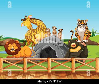 Various animals in a zoo illustration - Stock Photo