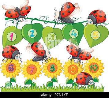 A Number with Ladybug and Flower illustration - Stock Photo