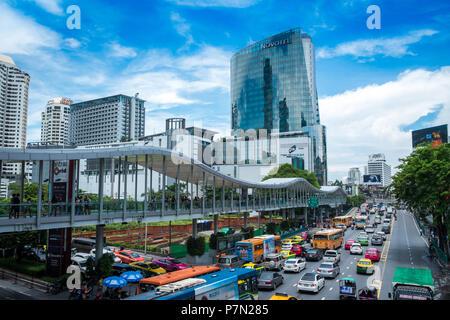Bangkok,Thailand - May 01,2018 Many people on the Bangkok skyline, Rajdamri Road, Pratunam. - Stock Photo