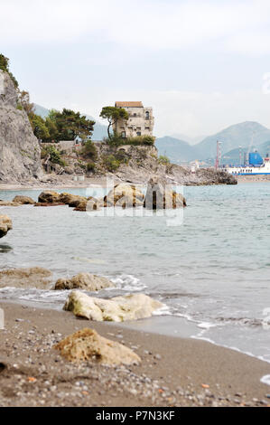 Panoramic sea view. Crestarella tower, old saracen Villa in Vietri sul Mare, in Amalfi coast, Italy. Vertical view. - Stock Photo