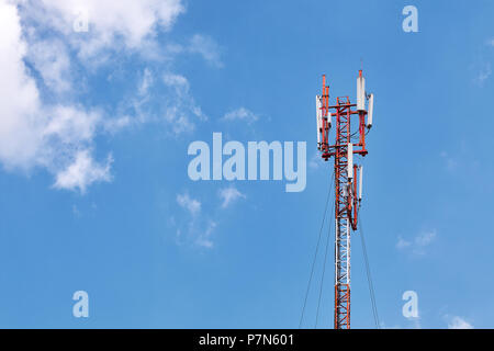 Technology on the top of the telecommunication GSM (5G,4G) tower with copy space. Cellular phone antennas on a building roof - Stock Photo