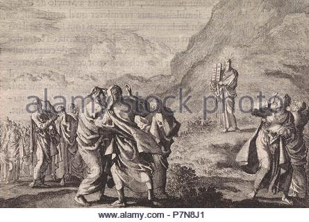 Moses received the law tables and displays them to the people, Jan Luyken, Pieter Mortier, 1703-1762. - Stock Photo