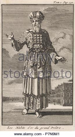 High Priest in liturgical clothing, Jan Luyken, Pieter Mortier, 1705. - Stock Photo